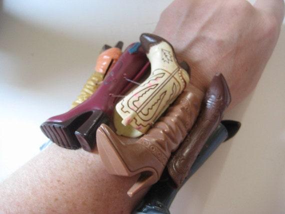 BARBIE COWBOY Boot Shoe Cuff Bracelet WESTERN One of a Kind Brown Southwestern Texas