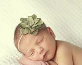 Vintage Sage Infant Baby girls Newborn Flower Headband