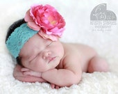 Pink and Aqua Baby Flower Headband - Baby Headband - Baby Flower Headband- Infant Head band - Available in any size -