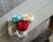 Country Chic - Baby Flower Headband - Baby Headband  - Flower Headband - Infant Headband - Headband - Red - Aqua  - Butter