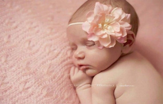 Pink and Ivory Baby Flower Headband - Newborn, Baby, Toddler, Girls - Any size available