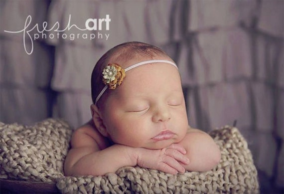 Bitty Blossom Moss green Skinny Stretch Headband- Photography Prop - Newborn headband - Baby headband - baby flower headband