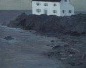 House on Driftwood Covered Beach -Original Painting-