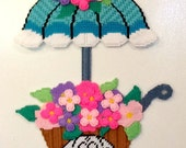 Needlepoint Wall Hanging, Flower Cart