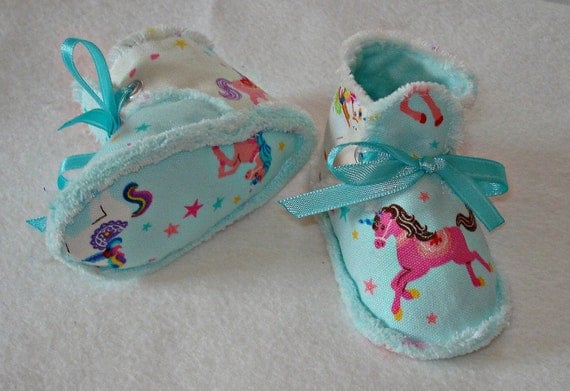Blue Kawaii Carousel Unicorn Baby Booties