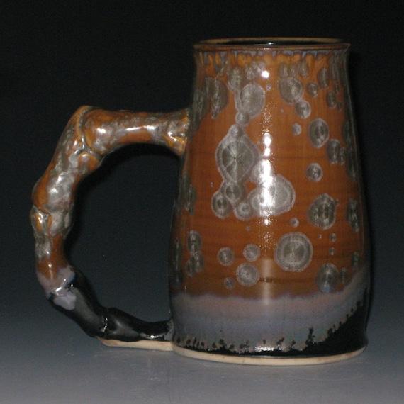Brown Steel Blue Gray Crystalline Glazed Bone Handle Large Mug Beer Stein