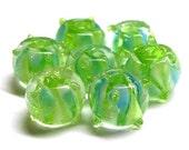 Encased Blue & White Triangles on Green Glass Bead Set of 7 DESTASH