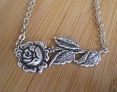 SALE Rose Necklace - Rose City Silver Flower Necklace Handmade by marleyjanedotcom on Etsy