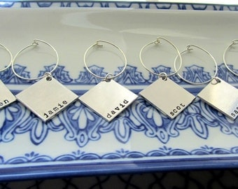 Wine Charms Silver - No This Is Your Drink - Silver Customizable Square Wine Charms by Marley Jane Mother Mother's grandmother day mom