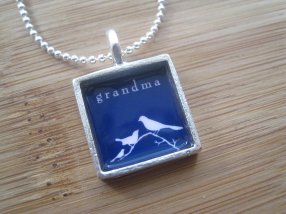 A Grandma to Learn From- Silver Square Bird Necklace Custom Personalized by marleyjanedotcom on Etsy