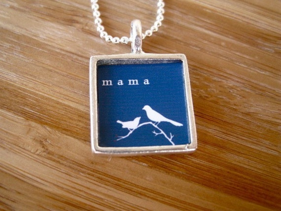 Mama Necklace - Only Mama Will Do Silver Square Bird Necklace by marleyjanedotcom on Etsy