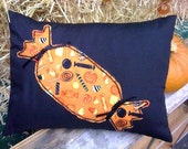 """Candy Pillow, in Orange, Yellow, & Black Candy Print 12"""" x 16"""" insert included"""