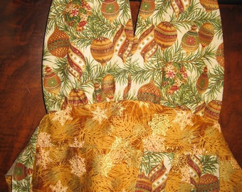Apron, Christmas, Reversible with Ornament Print Fabric in Gold, Red, Green