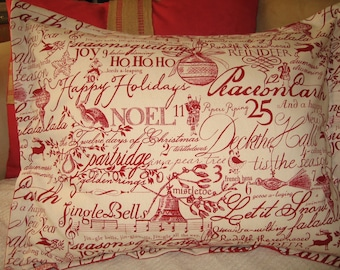 Pillow Christmas, Twelve Days of, Vintage Red Cranberry Script Calligraphy, Feather Insert 18x18