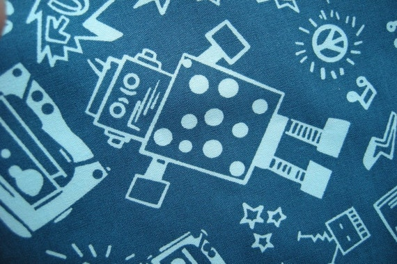B78 - Japanese cotton fabric - Robot and Stereo- per meter