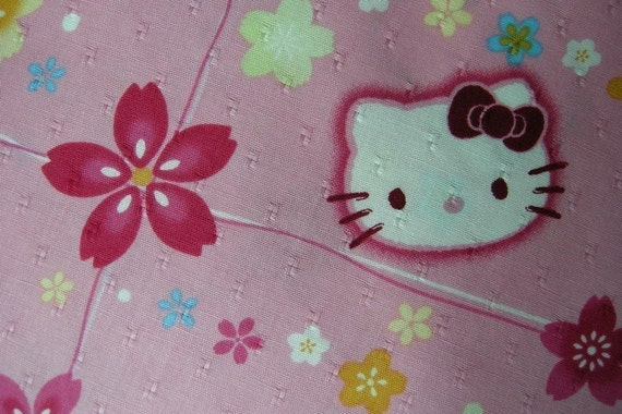 Japanese Cotton Fabric - Hello Kitty and Flowers (A)