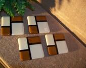 4 Piece Coaster Set,  Black Brown Almond