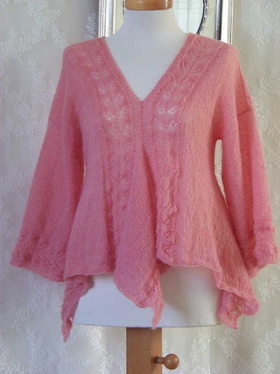 Mohair Lace Knitting Pattern Free : Pink mohair lace top knitting pattern PDF