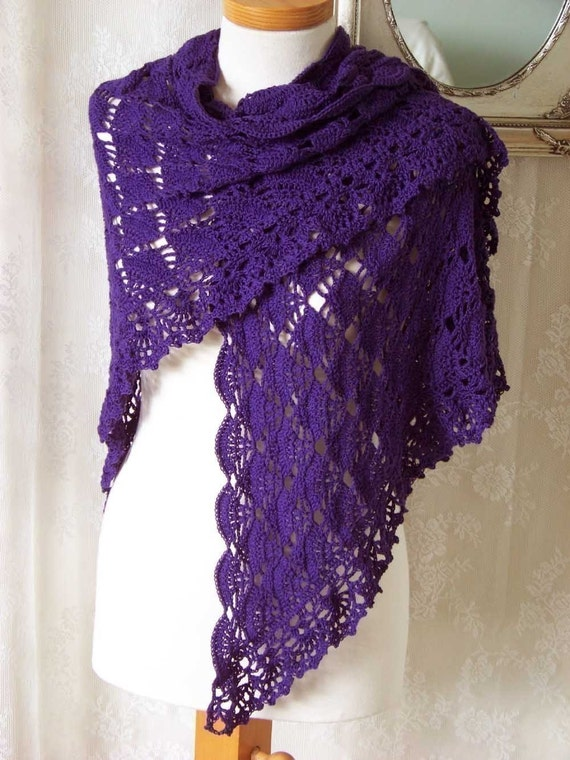 LAUREN, Crochet shawl pattern, PDF