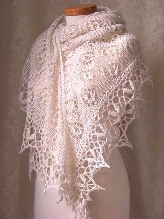 ROSA, Knitting/crochet shawl pattern, PDF
