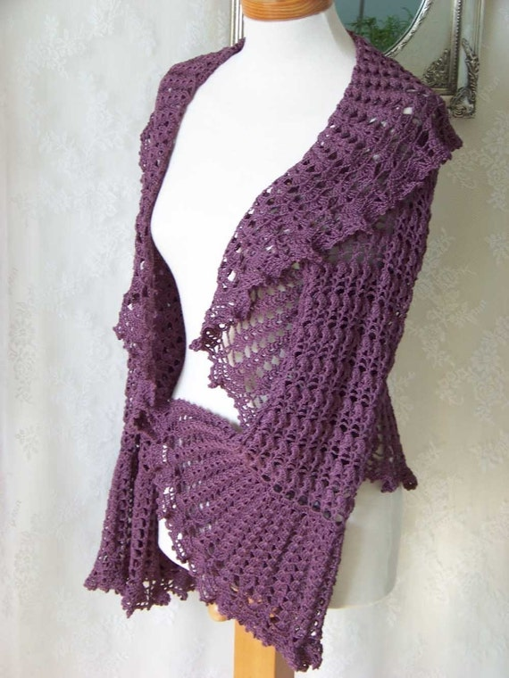 Purple shrug Crochet pattern PDF Size us 12/20