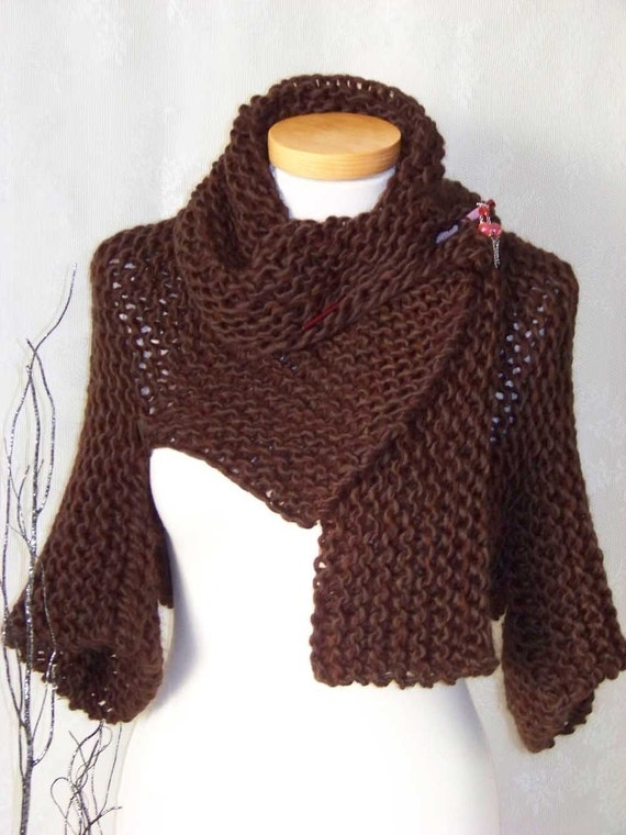 Knitting Patterns For Shrugs With Shawl Collar : Knitting pattern Brown shrug with big collar PDF