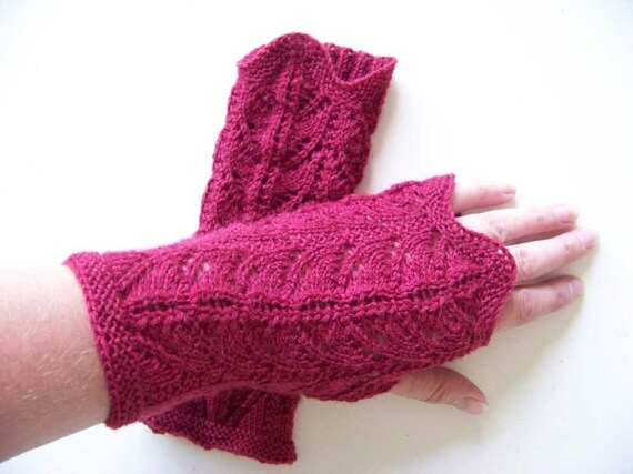 Lace Mittens Knitting Pattern : Knitting pattern PDF fingerless lace gloves