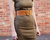 Brown Fitted Stretch Wool Dress