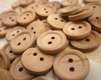 Wooden Buttons, 18mm - Round Wood Buttons, Pack of 50