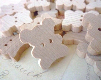 Wooden Buttons, Teddy Bear, Pack of 5