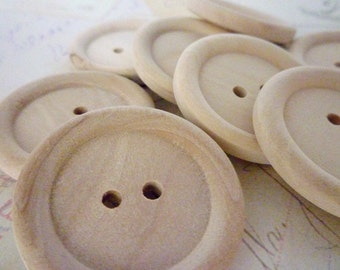 Wooden Buttons, LARGE Round Wood Buttons, PACK OF 10