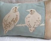 handprinted vintage inspired  duck egg bird cushion