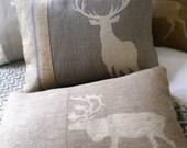 hand printed grey stag cushion