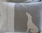 hand printed grey loom state  linen whippet/grey hound cushion