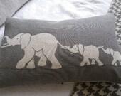 hand printed greys  elephant family cushion cover