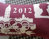 Limited edition burgundy London Olympic cushion cover