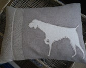 Mink hand printed pointing dog cushion