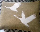 Hand printed old gold crane bird cushion
