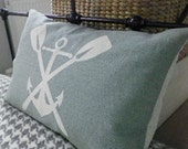 Hand printed oars and anchor cushion