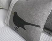 hand printed black bird cushion