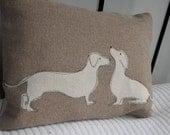 hand printed daschund pair cushion