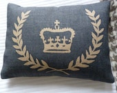 hand  screen printed vintage inspired royal  crown and laurel wreath cushion