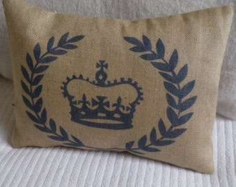 hand printed crown and laurel wreath cushion