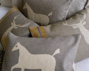 hand printed wiltshire chalk horse cushion