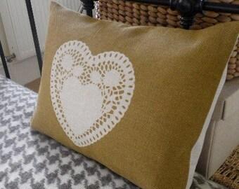 hand screen printed old gold heart cushion
