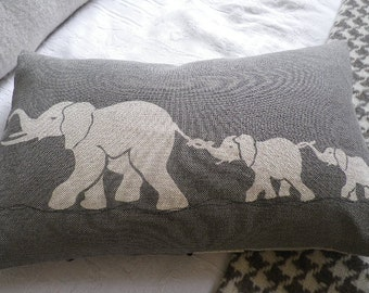hand printed greys  elephant family cushion cover