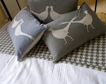hand printed crossed tailed pheasants cushion cover