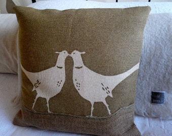 hand printed natural kissing pheasants cushion cover