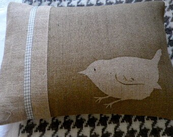 hand printed classic little wren cushion