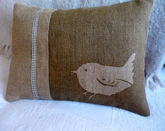 hand printed little round wren cushion